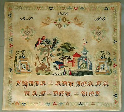 Superb! 1855 Romantic Dutch Wool Work Sampler Angels Hearts Landscape Sticktuch