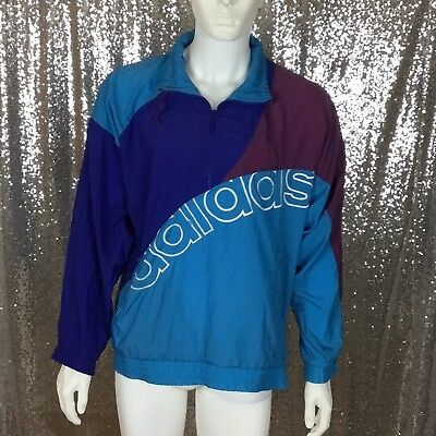 Vintage ADIDAS Blue Color Block Men Work Out Sweater 80's-90's  M Windbreaker