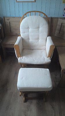 Gliding / rocking solid wood nursing chair and stool