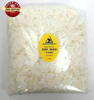 SOY WAX FLAKES ORGANIC VEGAN by H&B Oils Center AKOSOY FOR CANDLE 48 OZ, 3 LB