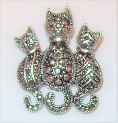 Vtg Art Deco Silver Tone Marcasite Cat Trio Pin Brooch Flower Stripe Victorian