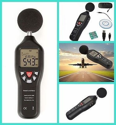 Black Sound Level Meter w/ Data Logger Sound Level Recorder Noise Decibel USB