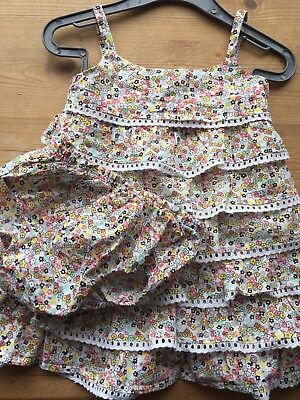 Preloved, Girls M&S Floral Pattern Frilly Cotton Dress 6-9 Months, Nappy Cover