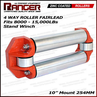 "Ranger 10"" 254MM Mount Roller Fairlead for 8000-15000 LBs Stand Winch Jeep/Truck"
