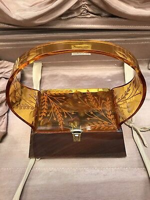 Carved Amber Lucite Purse
