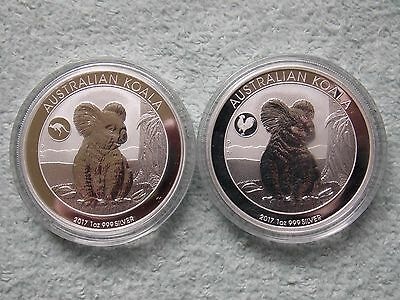 2017 AUSTRALIAN SILVER KOALA Rooster & Kangaroo Privy (Two 1 oz coin Set)