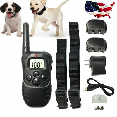 Pet Dog Training Collar Rechargeable Electric LCD 100LV Shock with Two Collars