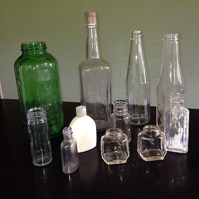 11 Antique/Vintage Green Glass Water/Juice/Old Spice/Liquor/Medicine Bottles