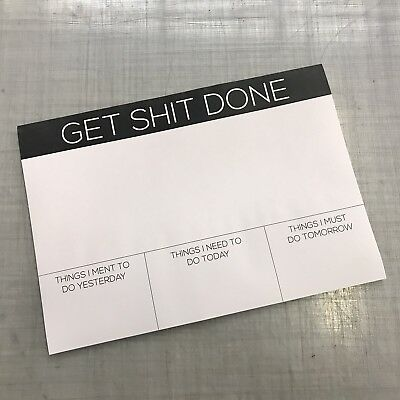 A3 Desk Pad - Funny Offensive Comedy Rude Humor Get Stuff Done - Office Note Pad