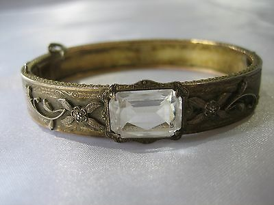 Antique JHP Victorian Faceted Rhinestone Flower Leaf Hinged Bangle Bracelet