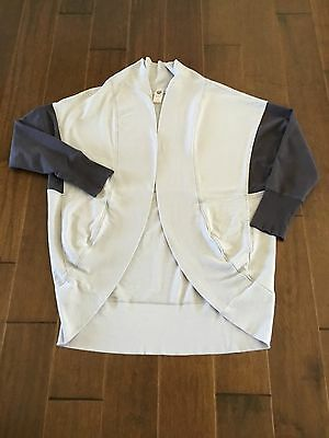 Women's Cardigan Open Front Jacket Cotton  Gray Long Sleeves Size M
