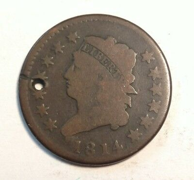 1814 Classic Head Large Cent G Details (Holed)