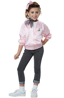 Brand New 50's Pink Ladies Grease Satin Varsity Jacket Child Costume
