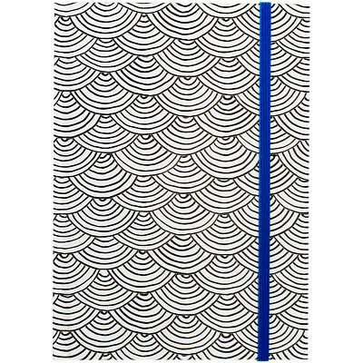 """Hall Pass Adult Coloring Notebook W/Elastic Band 5""""X7"""" Scallop W/Blue 373592"""