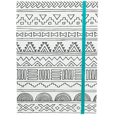 """Hall Pass Adult Coloring Notebook W/Elastic Band 5""""X7"""" Tribal W/Teal 373594"""