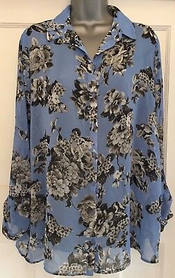 NEW LOOK Blue Mix Floral Sheer Long-Sleeve Collared Maternity Blouse Size 14