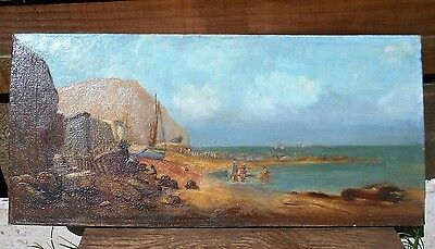 Antique Oil on Canvas Seascape Fishing Boats Crab Pots Bathers