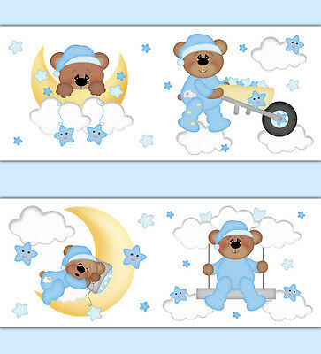 Teddy Bear Wallpaper Border Wall Decals Moon Star Cloud Boy Nursery Art Stickers
