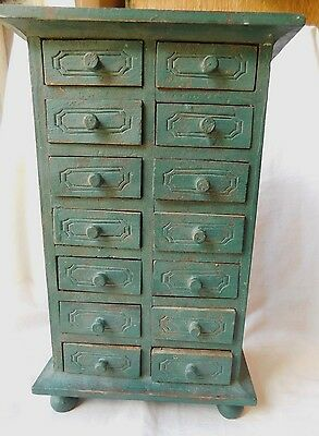 Vintage Antique 14 Drawer Footed Spice Cabinet From Old Wisconsin Farmhouse !!