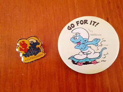 Vintage Smurf Pins Walibi Schtroumpf & Go For It Skateboarder