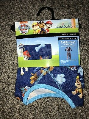 Cuddl Duds 2 Pc Paw Patrol Blue Warm Base Layer Long Underwear Size 2T 3T NWT