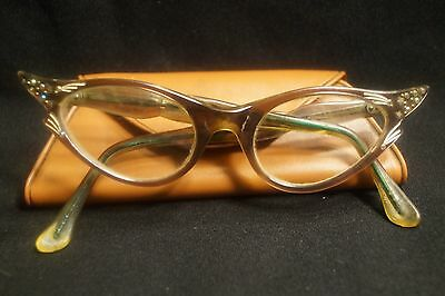 Vintage Cats Eye Eyeglasses Made in France VERY ORNATE Jeweled Edging W/ Case