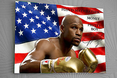 Floyd Mayweather A3 Clip Glass Frame canvas tribute signed