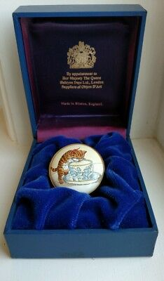 """Halcyon Days Enamels """"Kitten & Teacup"""" Trinket Box with Presentation Box and COA"""