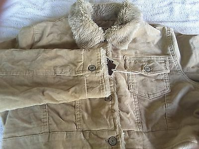 Womens half jacket cord fur trim brown by CLASH JEANS NEW  SIZE 14 /16 / 18