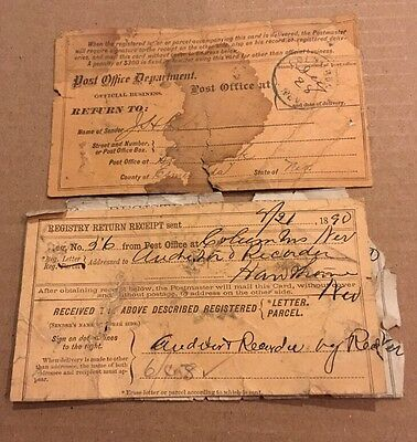 Columbus Nevada Post Mark And Post Office Recipts Mining Ghost Town 1890