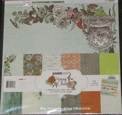 "Kaisercraft 'HONEY CHAI' 12x12"" Paper Pk + Stickers KAISER Floral SPECIAL PRICE"