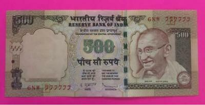 "India 500 Rs Subbarao 2012 Fancy Serial Number ""6NW 777777"" Gem BU UNC Note"