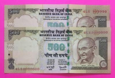 "India 500 Rs Y.V. Reddy Fancy Number ""999999"" ""1000000"" ""2"" Sequential UNC Notes"