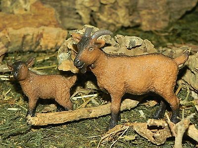 "Schleich Goat Set of 2 Figurines for 5"" Nativity Scene Presepio Cabras Pesebre"