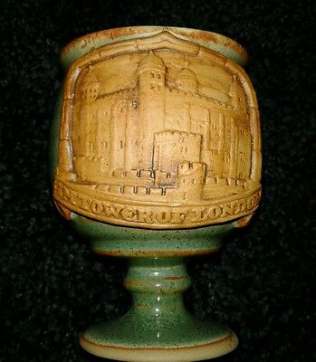 Vintage HM TOWER OF LONDON POTTERY FOOTED GOBLET COFFEE MUG ENGLAND Souvenir