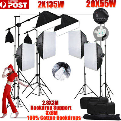6850W Photo Studio Softbox Continuous Lighting White  Muslin Backdrop Stand KIT