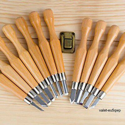 Wood Carving SK7 Carbon Steel 12 Piece Tool Set Chisel Knife Kit Leather Guard