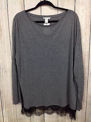 5b79b96daa H   M XL Gray Blouse with Lace Trim NWT Women s Long Sleeve Shirt Blouse  Sweater