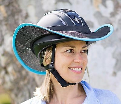 "Helmet Brim Shade  For Horse Riding ""new "" Black With Light Blue Trim"