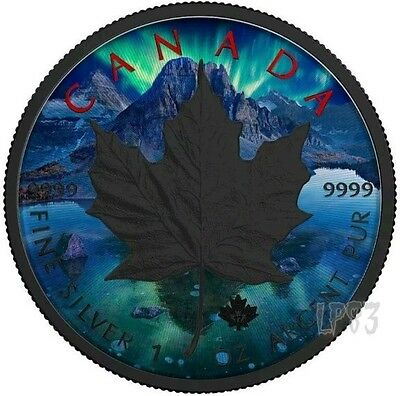 2017 1 Oz Silver AURORA MAPLE LEAF Coin WITH RUTHENIUM.