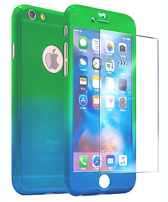 Ultra Thin 360° Full Body Protective Case For iPhone 6 6s Plus Tempered Glass