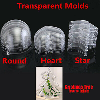 40pc/20 Set Clear Plastic Bath Bomb Mould Mold Love Heart Round Star Tree Shape