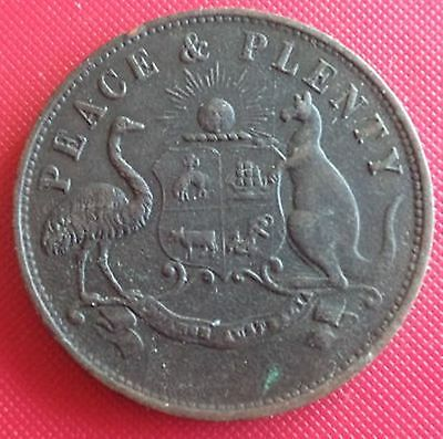 1858 Melbourne Peace and Plenty token