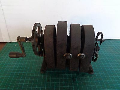 Vintage hand winder, generator for an old phone.   Inner working