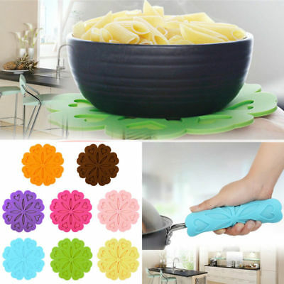 Heat Resistant Silicone Table Mat Flower Placemat Non-slip Pan Pot Holder 6.5""