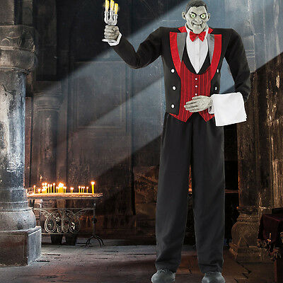 """Halloween 6ft 11"""" (211cm) Animated Butler of Macabre Manor with Lights & Sounds"""