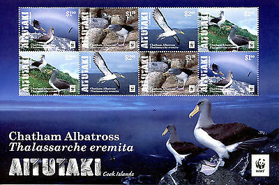 Aitutaki Cook Islands 2016 MNH Chatham Albatross WWF 8v M/S Birds Stamps
