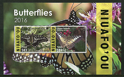 Niuafo'ou 2016 MNH Butterflies 2v M/S Insects Swallowtail Butterfly EMS Stamps