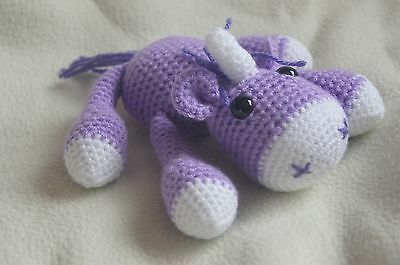 Small crocheted Unicorn soft toy. Available in various colours.