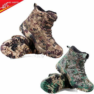Mens Hiking Hunting Fleeces camo Shoes Tactical Military Deployment Ankle Boots